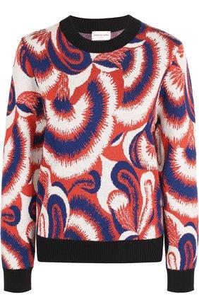 Пуловер с круглым вырезом и принтом Dries Van Noten синий   Фото №1