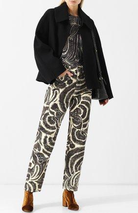 Укороченные джинсы прямого кроя с принтом Dries Van Noten черно-белые   Фото №1
