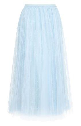 Однотонная юбка-миди с эластичным поясом REDVALENTINO черная | Фото №1