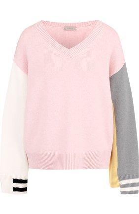 Пуловер из смеси шерсти и кашемира с V-образным вырезом MRZ разноцветный | Фото №1