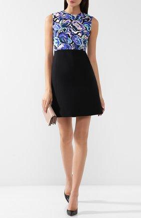 Приталенное мини-платье из смеси шерсти и шелка с принтом Emilio Pucci черное | Фото №1