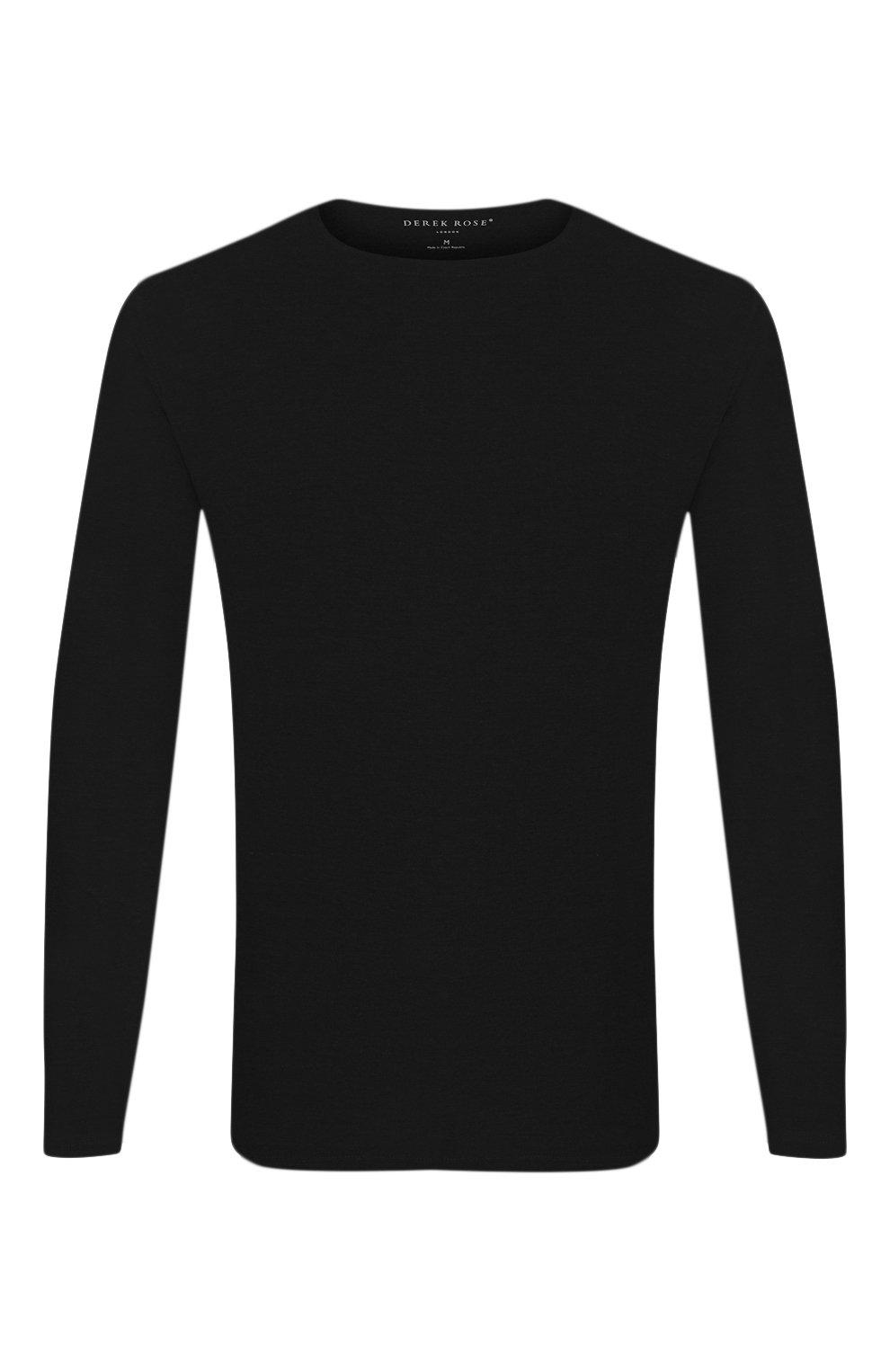 Мужская лонгслив DEREK ROSE черного цвета, арт. 3083-BASE001   Фото 1 (Рукава: Длинные; Кросс-КТ: домашняя одежда; Материал внешний: Синтетический материал; Длина (для топов): Стандартные; Мужское Кросс-КТ: Футболка-белье; Статус проверки: Проверена категория)