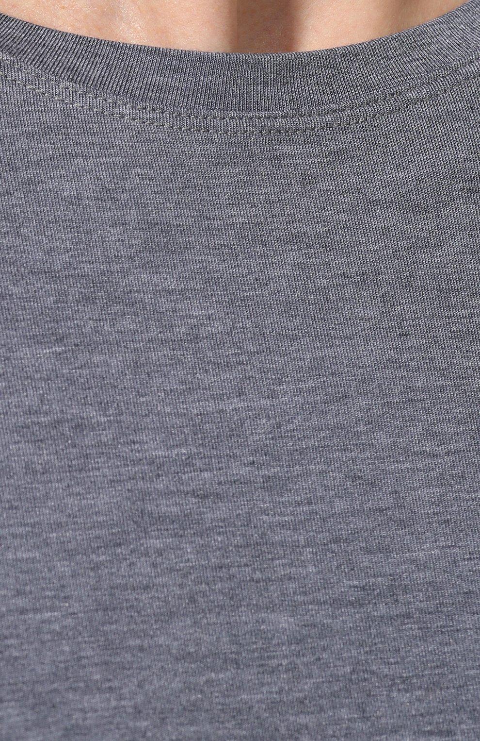 Мужская лонгслив с круглым вырезом DEREK ROSE серого цвета, арт. 3083-MARL001 | Фото 5 (Рукава: Длинные; Кросс-КТ: домашняя одежда; Материал внешний: Синтетический материал; Длина (для топов): Стандартные; Мужское Кросс-КТ: Футболка-белье)
