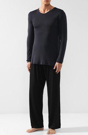 Лонгслив из смеси шерсти и шелка Hanro темно-серая | Фото №1