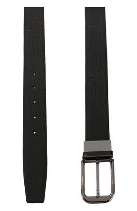 Кожаный ремень с металлической пряжкой Ermenegildo Zegna черный | Фото №1