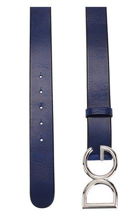 Мужской кожаный ремень DOLCE & GABBANA синего цвета, арт. BC4245/AI894 | Фото 2