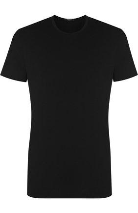 Мужские хлопковая футболка с круглым вырезом LA PERLA черного цвета, арт. M022168 | Фото 1