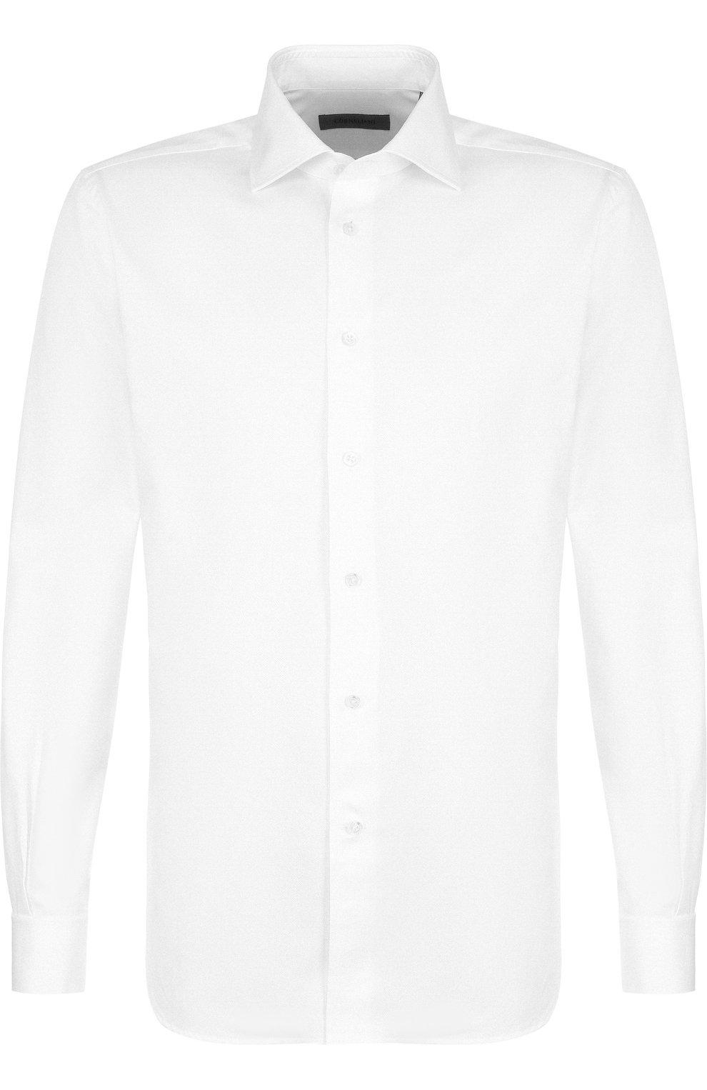 Мужская хлопковая сорочка с воротником кент CORNELIANI белого цвета, арт. 82P150-8811211/00   Фото 1