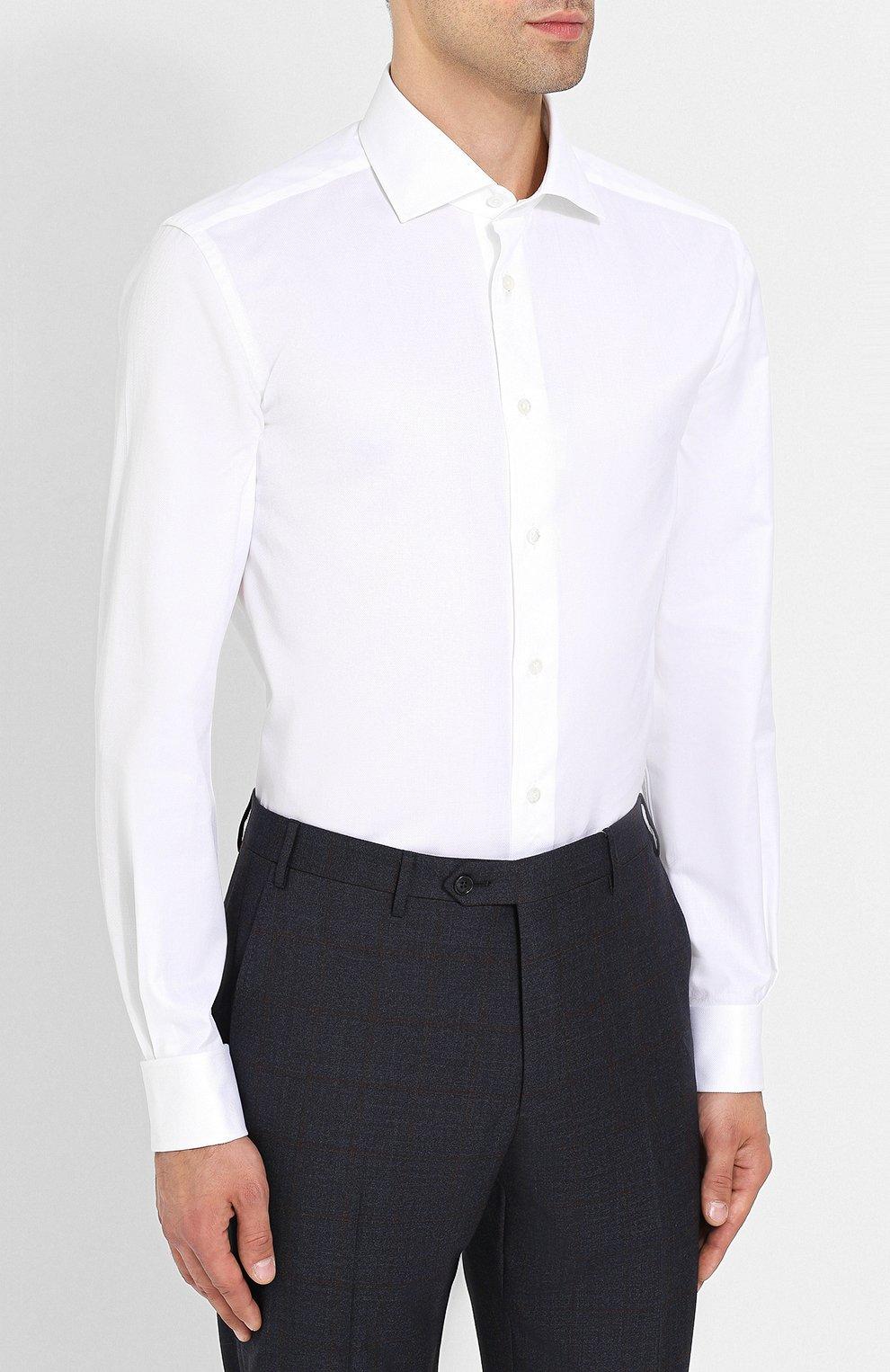 Мужская хлопковая сорочка с воротником кент CORNELIANI белого цвета, арт. 82P150-8811211/00   Фото 3