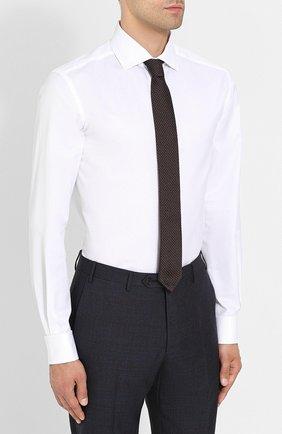 Мужская хлопковая сорочка с воротником кент CORNELIANI белого цвета, арт. 82P150-8811211/00   Фото 4