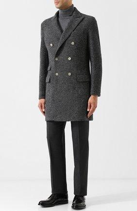 Двубортное шерстяное пальто Eleventy UOMO серого цвета   Фото №1