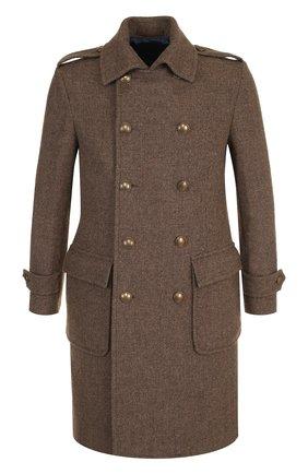 Двубортное шерстяное пальто Eleventy UOMO оливкового цвета   Фото №1