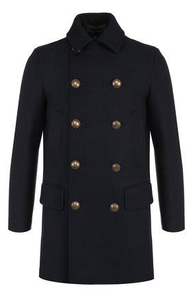 Двубортное шерстяное пальто Eleventy UOMO темно-синего цвета   Фото №1