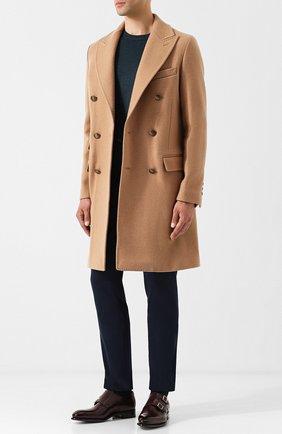 Двубортное шерстяное пальто Eleventy Platinum бежевого цвета | Фото №1