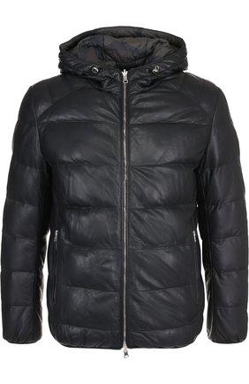 Двусторонняя кожаная куртка на молнии с капюшоном | Фото №1