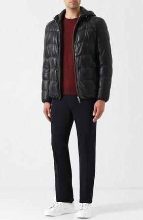 Двусторонняя кожаная куртка на молнии с капюшоном Eleventy Platinum синяя | Фото №1