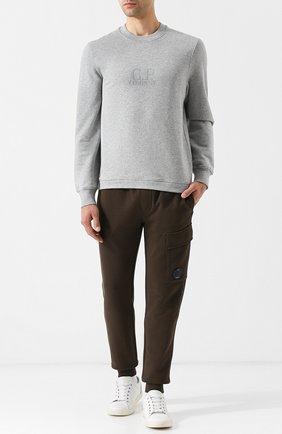 Хлопковый свитшот с принтом C.P. Company серый | Фото №1