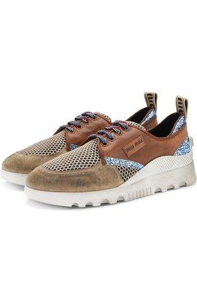 Комбинированные кроссовки с глиттером на шнуровке Miu Miu коричневые | Фото №1