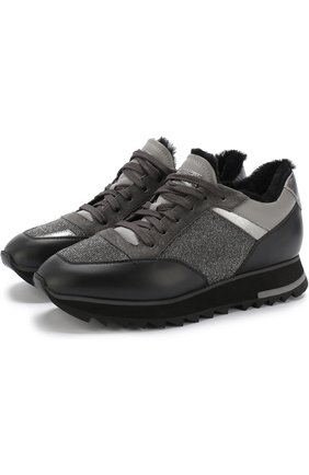 Комбинированные кроссовки с внутренней меховой отделкой Santoni серые | Фото №1