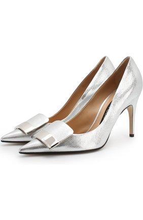 Туфли из металлизированной кожи на шпильке Sergio Rossi серебряные | Фото №1