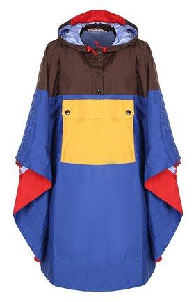 Накидка свободного кроя с капюшоном Marni синяя | Фото №1