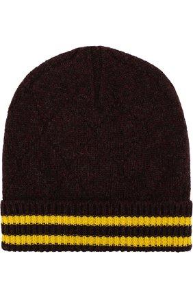 Шерстяная шапка с контрастными полосками | Фото №1