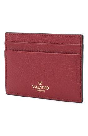 Женский кожаный футляр для кредитных карт valentino garavani rockstud VALENTINO бордового цвета, арт. QW2P0486/VSH | Фото 2