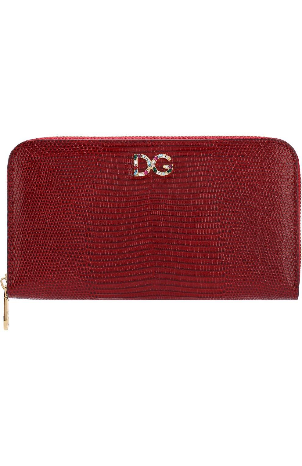 Кожаный кошелек на молнии Dolce & Gabbana красного цвета | Фото №1