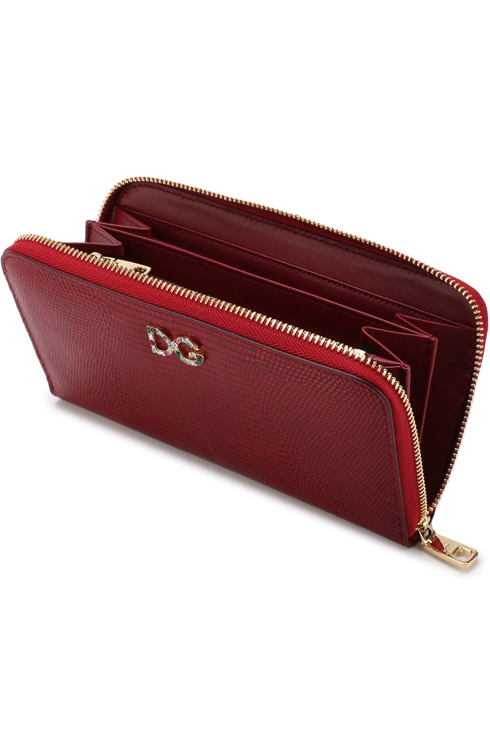Кожаный кошелек на молнии Dolce & Gabbana красного цвета | Фото №3