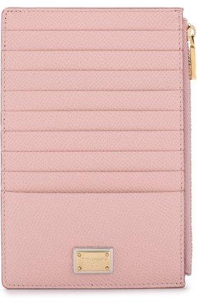 Женский кожаный футляр для кредитных карт с отделением на молнии DOLCE & GABBANA светло-розового цвета, арт. BI1154/A1001 | Фото 1