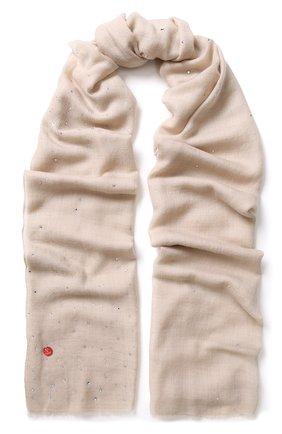 Женская шерстяной палантин с отделкой стразами VINTAGE SHADES светло-бежевого цвета, арт. 8841 | Фото 1