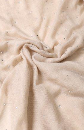 Женская шерстяной палантин с отделкой стразами VINTAGE SHADES светло-бежевого цвета, арт. 8841 | Фото 2