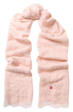 Шерстяной палантин с кружевной отделкой Vintage Shades светло-розовый | Фото №1