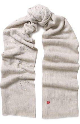 Кашемировый палантин с декоративной отделкой Vintage Shades светло-серый | Фото №1
