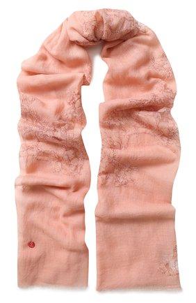 Шерстяной палантин с кружевной отделкой Vintage Shades розовый | Фото №1