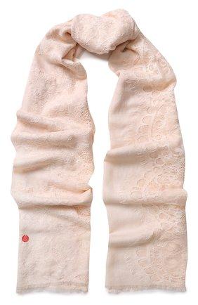 Палантин из смеси шерсти и шелка с кружевной отделкой | Фото №1