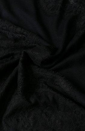 Палантин из смеси шерсти и шелка с кружевной отделкой Vintage Shades черный | Фото №2