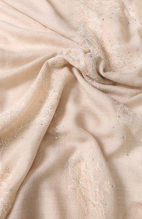 Шерстяной палантин с кружевной отделкой и стразами Vintage Shades бежевый | Фото №1