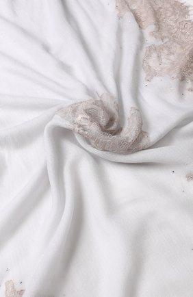 Шерстяной палантин с кружевной отделкой и стразами Vintage Shades светло-серый | Фото №1