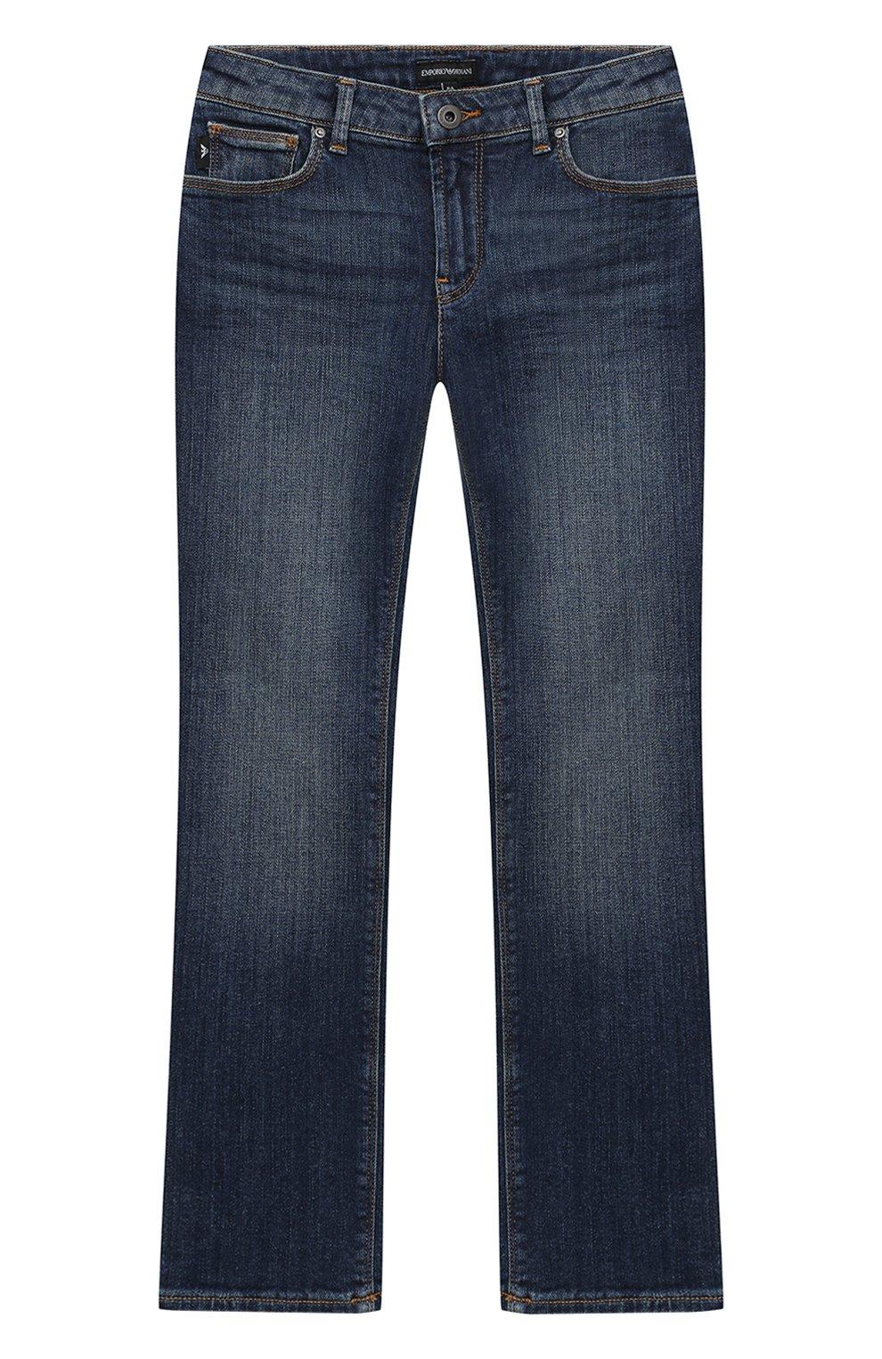 Детские джинсы с декоративными потертостями EMPORIO ARMANI синего ... 012153bdd88