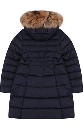 Пуховое пальто с меховой отделкой на капюшоне | Фото №2