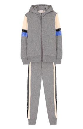 Хлопковый костюм из кардигана с капюшоном и брюк | Фото №1