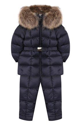 Детский комплект из пуховой куртки и комбинезона на подтяжках MONCLER ENFANT синего цвета, арт. D2-951-70336-25-53048 | Фото 1