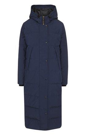 Стеганое пуховое пальто с капюшоном и нашивкой Arctic Explorer темно-синего цвета | Фото №1