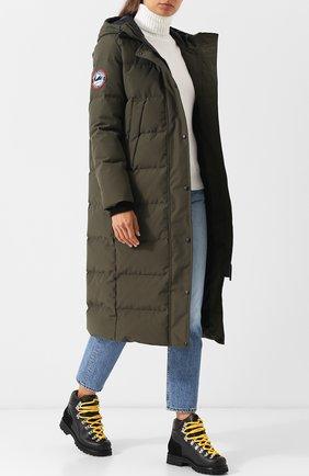 Стеганое пуховое пальто с капюшоном и нашивкой Arctic Explorer хаки цвета | Фото №1