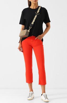 Укороченные однотонные джинсы Current/Elliott красные   Фото №1