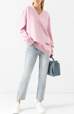 Удлиненный пуловер из смеси шерсти и хлорка с V-образным вырезом CALVIN KLEIN 205W39NYC розовый | Фото №1