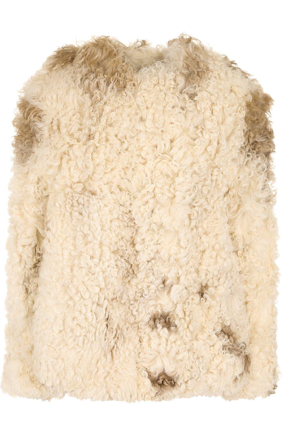Женская укороченная шуба из овечьего меха SAINT LAURENT белого цвета, арт. 526009/Y7RY2   Фото 1