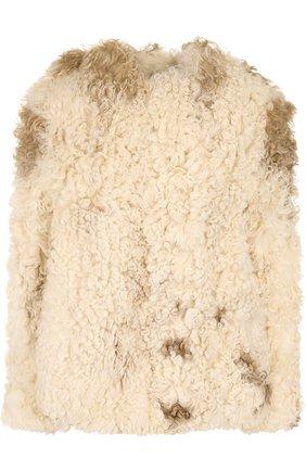 Укороченная шуба из овечьего меха | Фото №1