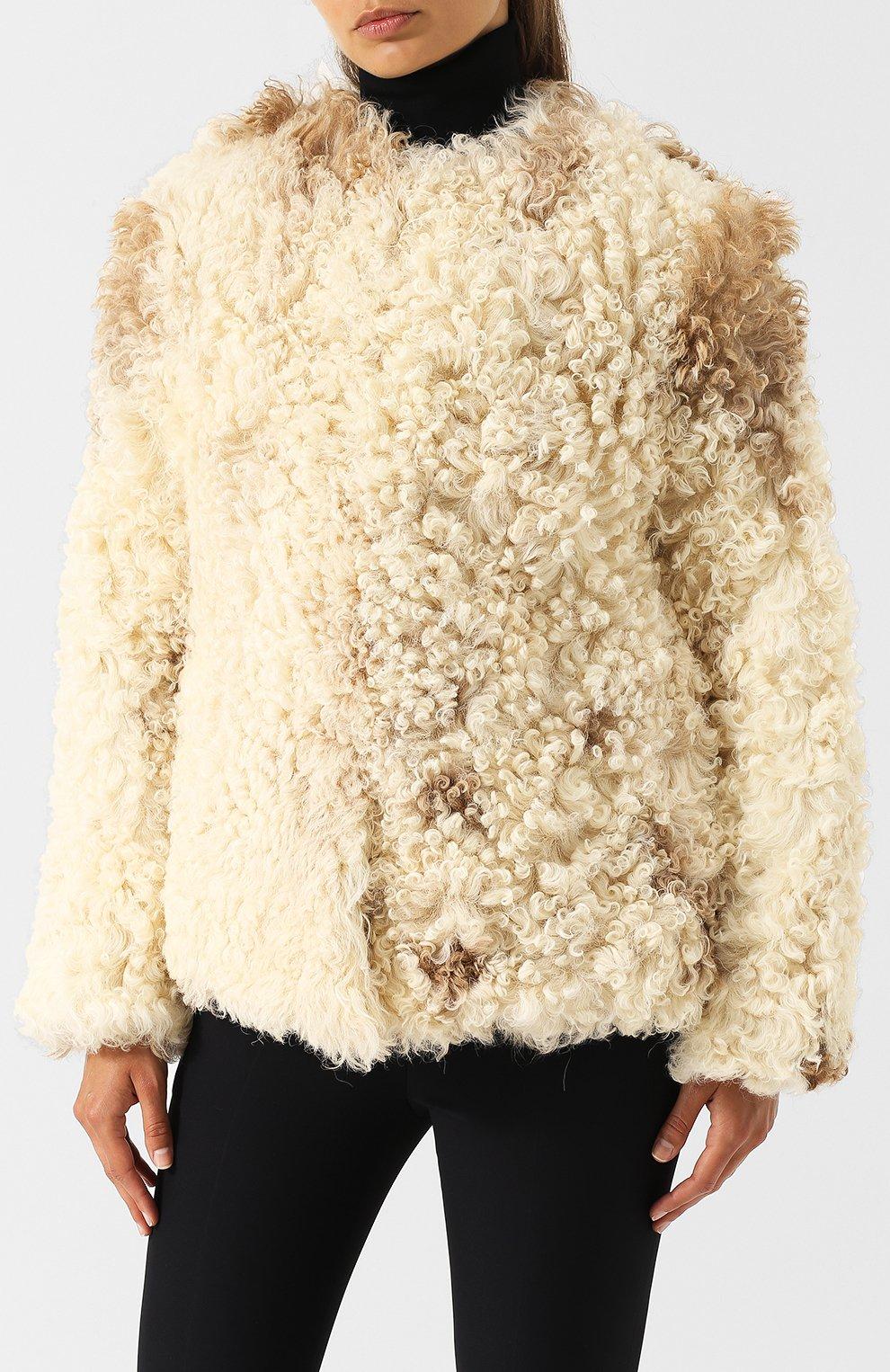 Женская укороченная шуба из овечьего меха SAINT LAURENT белого цвета, арт. 526009/Y7RY2   Фото 3